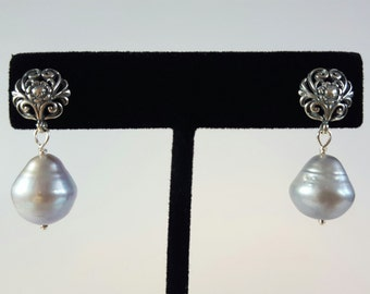 Silver earrings with large grey drop-shaped freshwater pearls