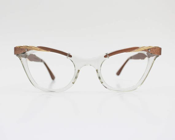 50s Cat Eye Glasses - Vintage 1950s Bausch & Lomb Gold and Clear Cat Eye Frames