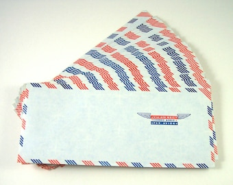 40 Airmail Envelopes, Orange and Blue Border, Via Air Mail, Correo Aereo, Par Avion, Wings and Stars, #10 Business Size, Security Envelopes