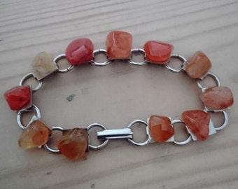 Vintage carnelian tumblestone bracelet