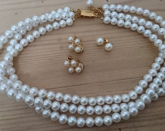Vintage Pearl three strand necklace with two pairs of earrings