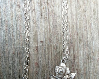 Vintage sterling silver rose pendant and chain