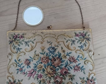 Vintage tapestry bag and small mirror