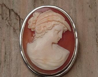 Vintage Silver Cameo brooch