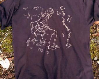 NEW! NICK DRAKE Five Leaves Left Hand Painted Cult Iconic Pop Art Blues Rock Band T-shirt
