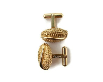 Father's Day Gold cufflink vintage Christian Dior Designer cufflinks Husband anniversary gift Business Cufflinks Modernist gold cufflink