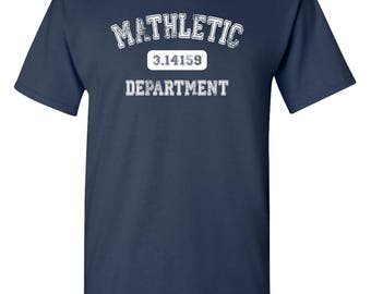 Mathletic Pi Department Adult Mens T-shirt Navy Blue