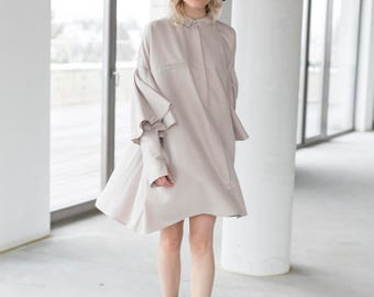 Oversized Dress, Boho Dress, Ruffle shirtdress, Loose fit Dress, Ruffle Dress, Minimalist Dress, Midi dress, Shirtdress, Beige Dress