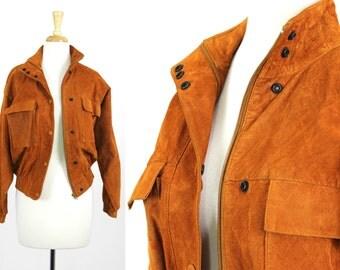 Leather Bomber Jacket Vintage Brown