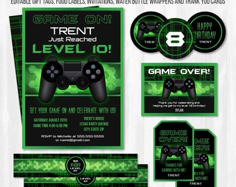 Video Game Birthday Party Invitations - Video Game Invitations - Video Game Party Ideas - Video Game Thank You- INSTANT DOWNLOAD - Edit NOW!