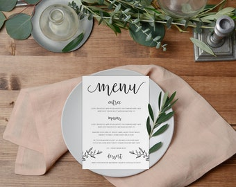 DIY Printable Rustic Hand Drawn Wedding Menu | Minimal Calligraphy Script Style Black and White | Leaves