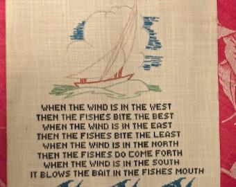 Wind, Fishing, Sailboat, Irish Cross Stitch