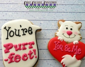 Sweet cat/kitty holding a heart and speech bubble with You're Purrfect!  One Dozen (12) Perfect for your Valentine!