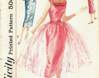 1950s Simplicity 2302 Misses' One-Piece Sheath Dress with Overskirt Sewing Pattern CUT