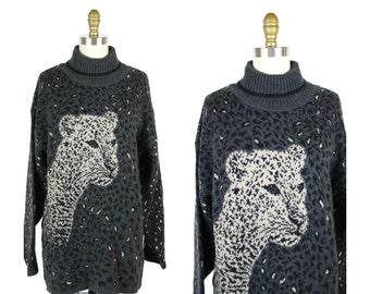 1980s Cheetah Tunic Sweater / Leopard Animal Sweater / Turtleneck Tunic 80s Sweater