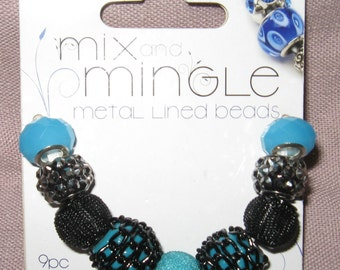 Darice - Mix and Mingle Metal Lined Glass Beads - Black-Turquoise