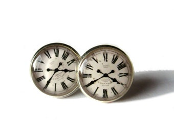 CLOCK EARRINGS - Roman Clock earrings - Clock photo earrings - Clock stud earrings