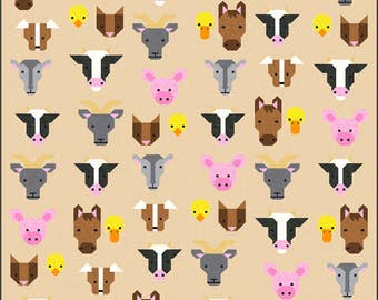 Farm Friends Quilt Pattern, PDF, Instant Download, farm animal, horse, cow, goat, sheep, pig, dog, cat, duck, chick, modern patchwork