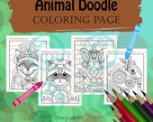 Animal Doodle Coloring Page for Adult Coloring Squirrel Raccoon Fox Rabbit in Steampunk Tangle style bundle of 4