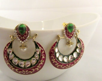 Pink and Green Handcrafted Meenakari Small Lightweight Statement Earrings