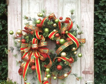 Christmas Wreaths, Christmas Wreath,Traditional Christmas Wreath, Large  Christmas Wreath, Double Door