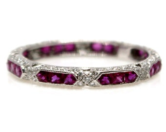 18k White Gold Ruby and Diamond Eternity Wedding Band Vintage Style