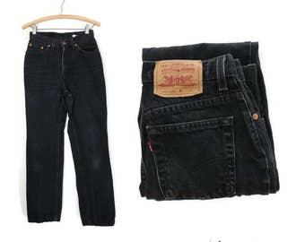 Levis 512 Jeans Black Denim Slim Fit Straight Leg 90s High Waist Boyfriend Mom 1990s High Rise Size 7 Jr 27 W 29 L Small Grunge Style