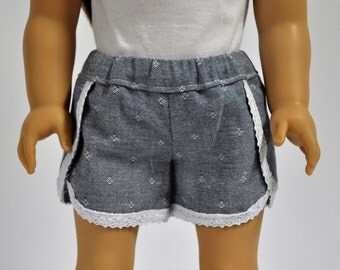 Chambray  Shorts with Lace Trim 18 Inch Doll Clothes made to fit American Girl