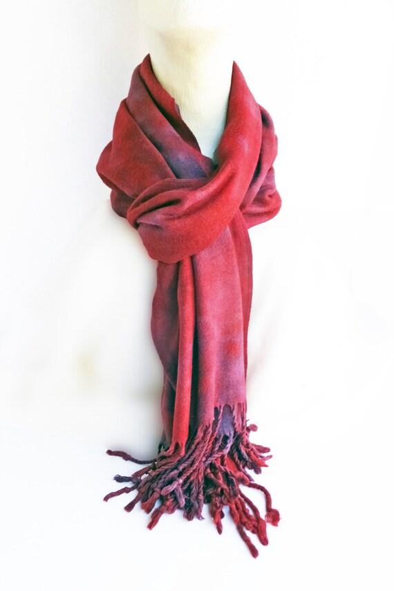 "Red winter scarf -  rayon scarf - fringe scarf - rayon challis - fringe scarf - warm scarf - red, black, grey, light blue -hand dyed-20x64"""