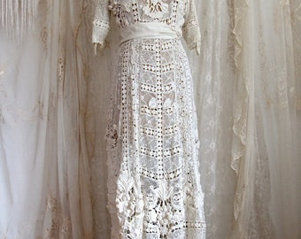 Dress From The Titanic Authentic Antique Wedding Gown Irish Lace Ivory Hand