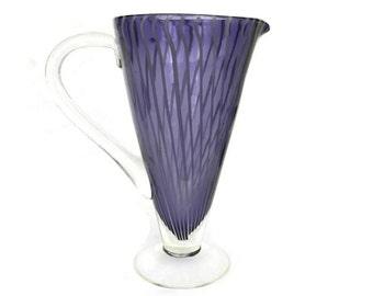 Vintage Purple Striped Murano Glass Cocktail Pitcher. Retro Barware.