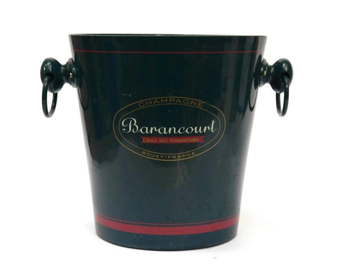 Vintage French Teal Champagne Bucket. Vintage French Barancourt Champagne Cooler. French Vintage Advertising.
