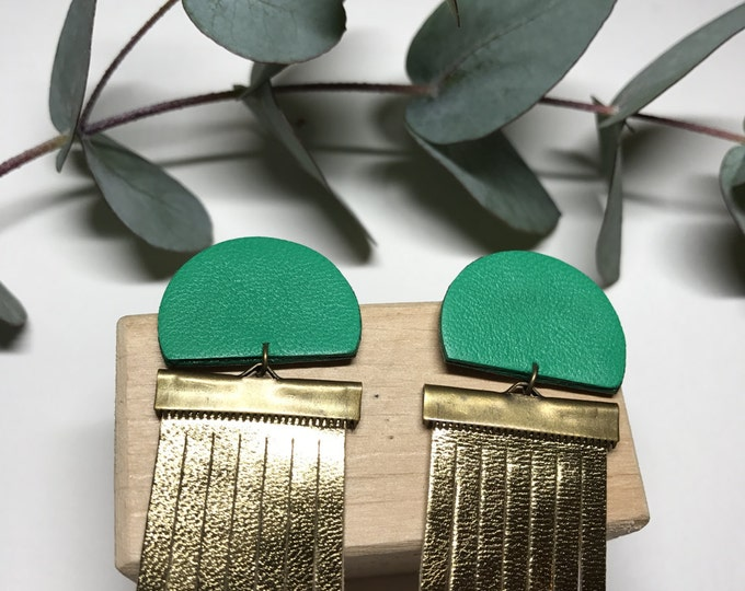 Featured listing image: Green and metallic gold leather fringe festive earrings