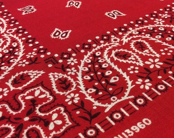 Vintage Bandana Handkerchief Red Floral Paisley Print All Cotton Made in USA RN 13960