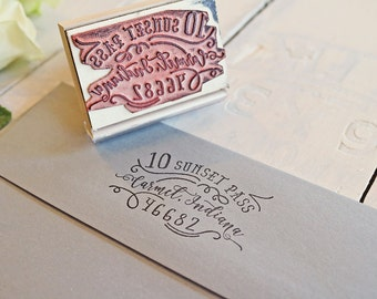 Calligraphy Inspired Return Address Stamp - Hand-Drawn Vintage Personalized Rubber Stamp