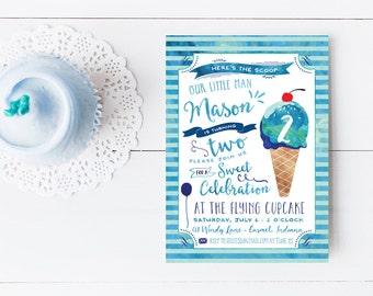 Ice Cream Birthday Invitation - Watercolor Blue Ice Cream Social Invites - Boy Birthday - Printable or Printed
