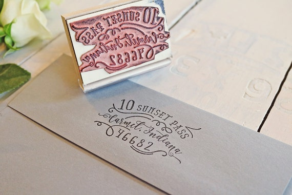 Calligraphy Inspired Return Address Stamp Hand Drawn