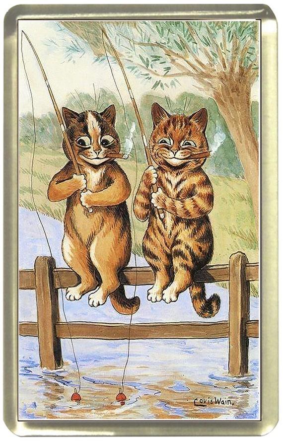 Louis Wain Fishing Cats Fridge Magnet 7cm by 4.5cm