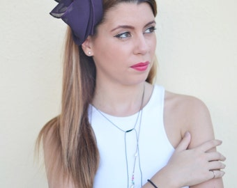 Purple Head Scarf, PurpleHair Wrap, Womens Headband, Head scarf, Hair Tie, Headcovering, Head Covering, Retro Head Bow, Vintage Bow, Turbans