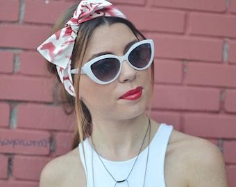 Red White Turban, Workout Head Scarf, Red Headband, Headband Adult, Woman Top Knot, Cotton Head Wrap, Pin Up Headband, Bow Headband, Turban