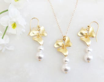 Bridal Jewelry Set, Pearl Jewelry Set, Orchids Jewelry, Mother's Day Gift, Mom Gift, Flower Jewelry Set, Jewelry for Mom, Bridesmaid Set