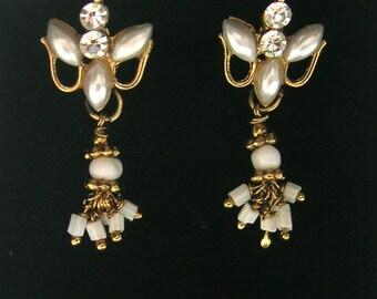 1950s Vintage Kashmiri Earrings  - White/Pearl/Gold - Pierced Ears - Vintage Earrings