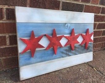 Reclaimed Wood Chicago Flag Sign / Chicago Flag Wall Art / Custom Art / Chicago Wood Sign / Chicago Stars