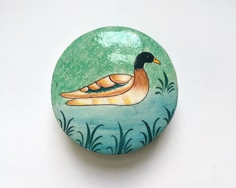 Vintage duck lacquer jewellery box - shabby chic bird, trinkets, treasures, rustic, French, Oriental, hand painted bird design, patterned