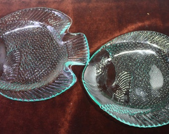 Pair of vintage glass fish serving plates