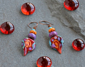 mixed media glass art abstract red earrings