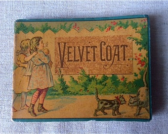 Antique Children's Book with Cats - Velvet Coat