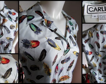 Vintage 80s Silk Top - Feathers - Carlisle Blouse - Size 6 - Small