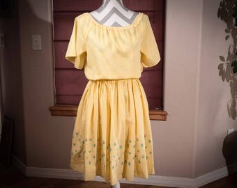 Vintage Yellow Gingham Peasant Dress, 1970's Embroidered Gingham Sundress