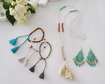 Jewelry goodies grab bag special  - All the goodies in this photo - tassel necklace, seed bead earrings,  beaded bracelets -
